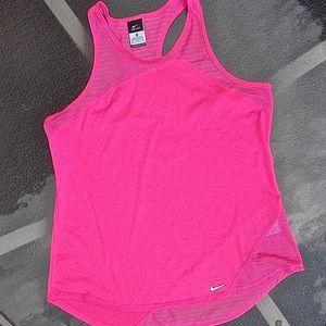 Nike Pink Crew Neck Tank Top, XL, Mesh Inserts